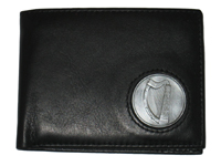 Celtic Ireland Irish Black Leather Billfold Wallet with Brian Boru Harp Emblem