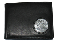 Celtic Ireland Irish Black Leather Billfold Wallet with Claddagh Emblem