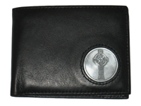 Celtic Ireland Irish Black Leather Billfold Wallet with Celtic Cross Emblem