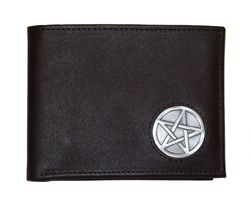 Celtic Ireland Irish Black Leather Billfold Wallet with Celtic Star Emblem