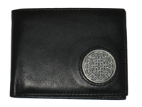 Celtic Ireland Irish Black Leather Billfold Wallet with Eternity Knot emblem