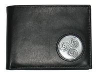 Celtic Ireland Irish Black Leather Billfold Wallet with Newgrange Spiral Emblem
