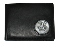 Celtic Ireland Irish Black Leather Billfold Wallet with Rampant Lion emblem