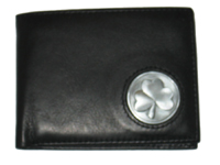 Celtic Ireland Irish Black Leather Billfold Wallet with Shamrock Emblem