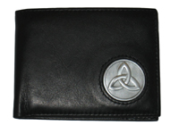 Celtic Ireland Irish Black Leather Billfold Wallet with Trinity Knot emblem
