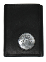 Celtic Ireland Irish Black Leather Trifold Wallet with Claddagh Emblem