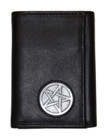 Celtic Ireland Black Leather Trifold Wallet with Celtic Star Emblem