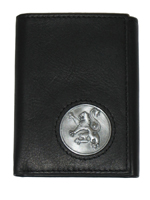 Celtic Ireland Black Leather Trifold Wallet with Rampant Lion Emblem