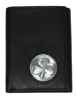 Celtic Ireland Trifold Wallet with Shamrock Emblem
